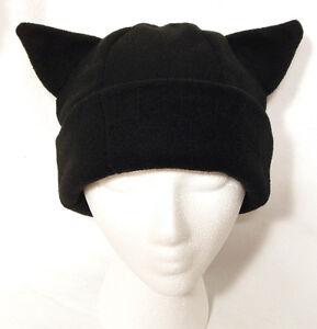 BLACK-KITTY-CAT-EAR-WARM-WINTER-FLEECE-SKI-SNOWBOARD-COSPLAY-ANIME-HAT-NEW-NWT
