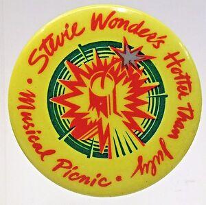 "scarce STEVIE WONDER HOTTER THAN JULY MUSICAL PICNIC 1.75"" pinback button"