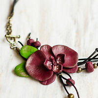 Fashion Jewelry Set Orchid Pendant Necklace & Ring Handmade Gift For Women Uk