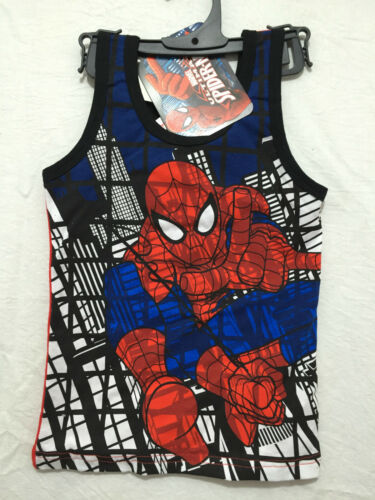 BNWT Boys Sz 5 Cool Spiderman Print Blue//Red Singlet//Muscle Tank Style Top