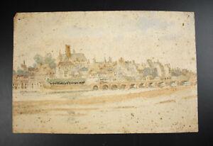 Zeichnung-Aquarell-Ansicht-Nevers-amp-Kathedrale-Saint-Cyr-Sainte-Julitte-Signiert