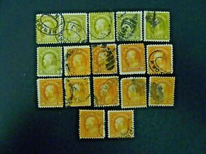 USA Lot of 17 Wash-Franklin 1917-19 Issue #508 & #510 Used - See Description