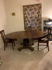 Details About Solid Oak Round Dining Room Table With Four Chairs