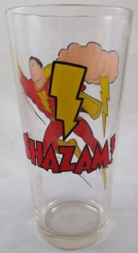 Vintage Shazam Capt Marvel Pepsi Glass DC Comics Old Stock Mint case fresh