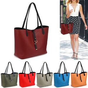 d58c5fdc36 Image is loading Womens-Designer-Reversible-Handbag-Leather-Bag-Ladies- Stylish-