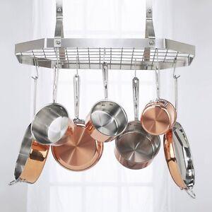 Silver Octagonal Hanging Rack Pots Pan Kitchen Hooks