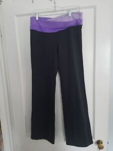 ae80ea2e8a1dd5 Image is loading LULULEMON-ATHLETICA-WOMENS-BLACK-WORKOUT-PANTS -PURPLE-WAIST-