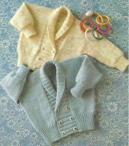 d6ef9be56 Baby s Double Breasted Jacket Shawl Collar Knitting Pattern 4ply ...