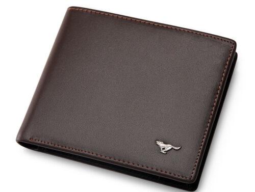 Men/'s Wallet Genuine Septwolves Leather Classic Black//Brown Credit Card Purse