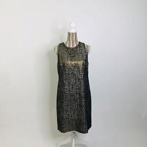 Maggy London Bronze Metallic Embellished Jewel Collar Sheath Dress 10 Womens