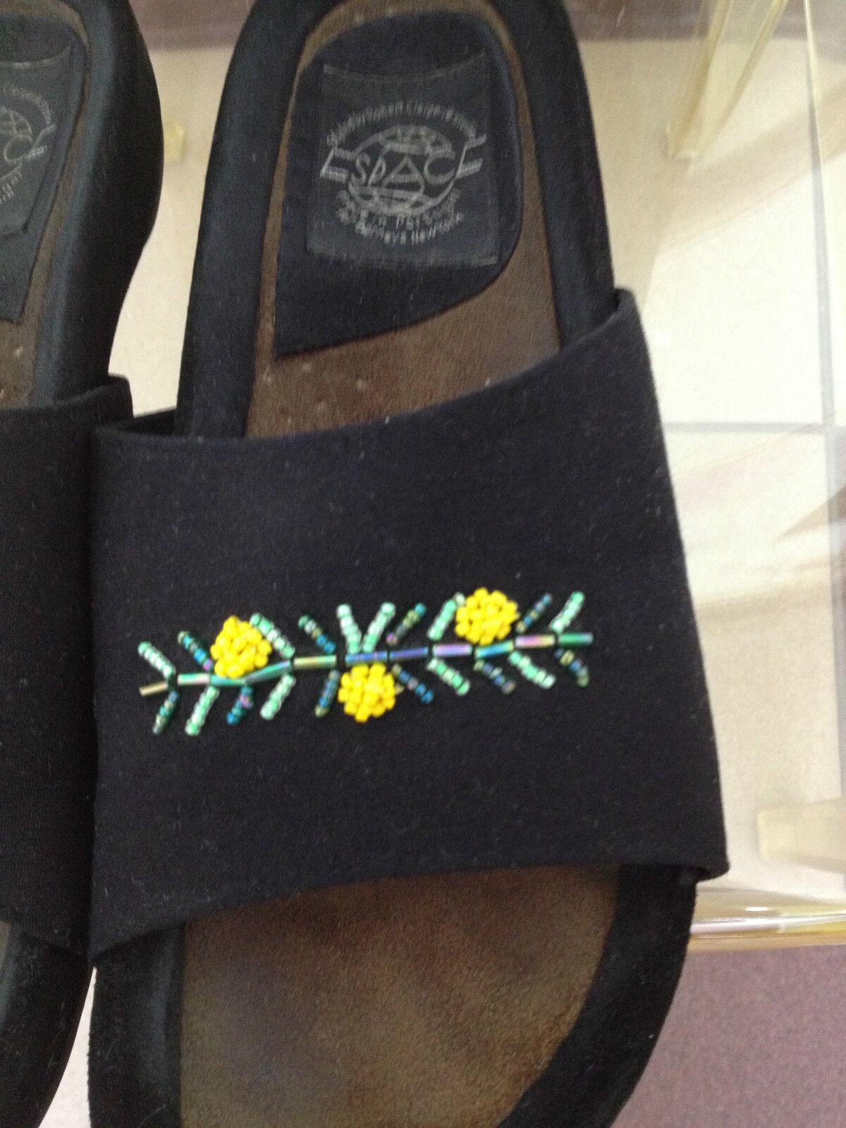 Donna  nero Espace Robert Clergerie Slides w giallo giallo giallo Seed Bead Detail Dimensione 8B 8bc752