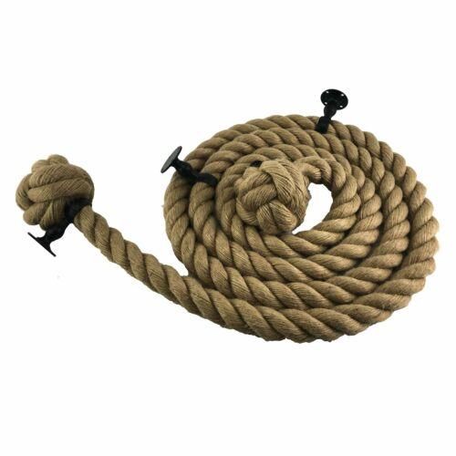 Yute Natural Bannister Cuerda C// Con 4 Negro Accesorios Seleccione Su Opciones