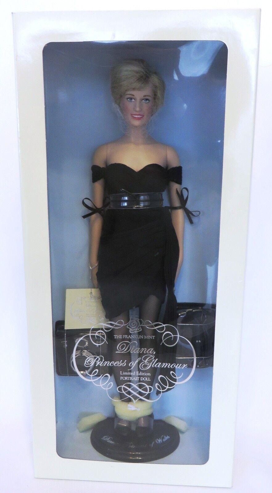En caja original Franklin Mint le Princesa Diana  princesa de glamour  Vinilo Muñeca Con cert. de autenticidad