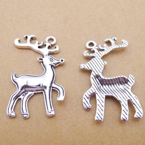 6pcs Charms Noël Renne Tibetan Silver Beads Pendentif À faire soi-même 22*38mm