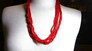 Red-Glass-Six-Strand-Small-Bead-Vintage-Necklace