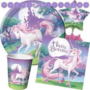 Unicorn-Fantasy-Gamme-de-Fete-D-039-Anniversaire-Fille-Vaisselle-Ballons-amp