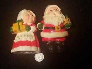 Vintage Santa & Mrs Claus Kris Kringle Salt & Pepper Shakers Hallmark 1977