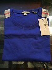 New Burberry Shoulder Nova Check Haymarket Plaid Men Blue Logo XXL XL L M $225