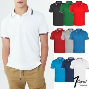 Men-039-s-Polo-Shirt-Dri-Fit-Golf-Sports-Striped-Cotton-T-Shirt-Jersey-Short-Sleeve