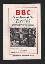MANNHEIM Werbung 1929 BBC Brown, Boveri & Cie. AG elektr. Kraftanlagen Zellstoff
