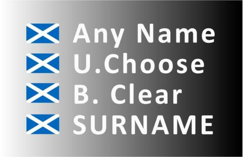 """/""""SMALL/"""" Rally Decals Name Stickers Scotland Flag 20mm Tall F2"""
