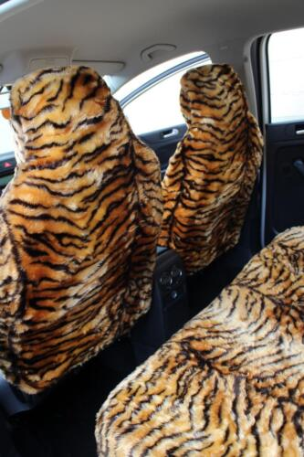 Full Set Gold Tiger Faux Fur Furry Car Seat Covers Nissan Micra