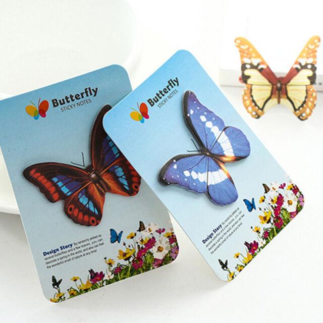 2Pcs/Set Butterflies Self-Adhesive Memo Pad Sticky Note Paper Kid DIY Supplies