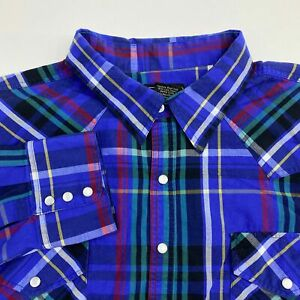 High-Noon-Pearl-Snap-Shirt-Men-039-s-Size-XLG-Long-Sleeve-Multicolor-Plaid-Casual