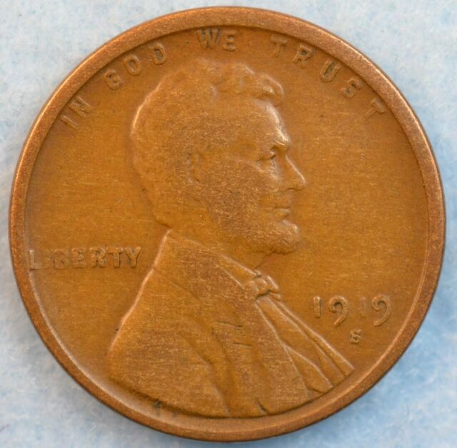 1919 S Lincoln Wheat Cent Penny Great Details San Francisco Mint FAST S&H 36292