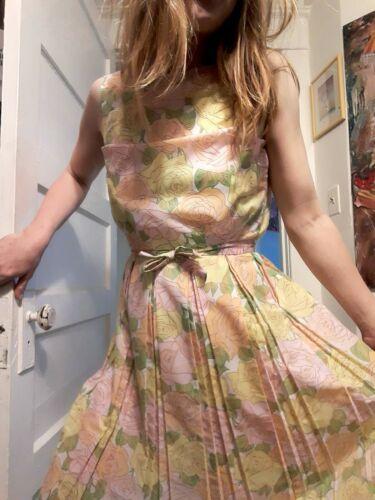 1950's Pastel Rose Print Day Dress (XS) - image 1