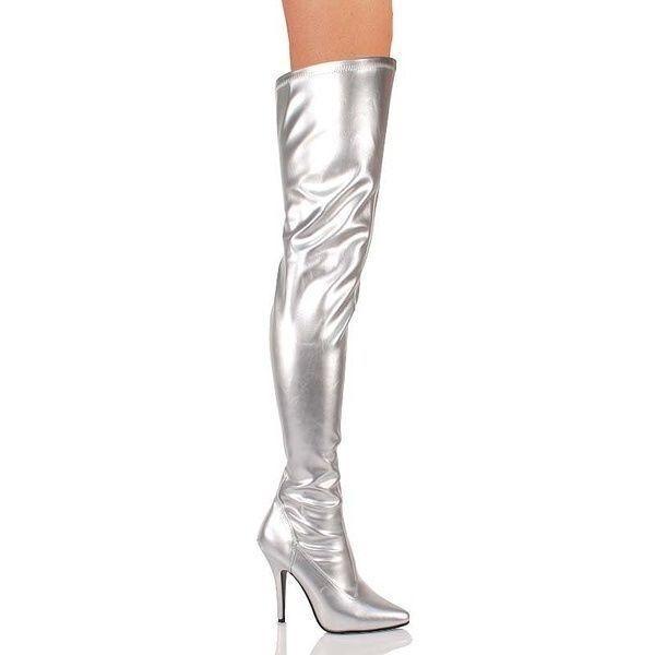 Grandes zapatos con descuento Seduce-3000 Pleaser Damen Frauen High Heels Overkneestiefel silber Größen 36-47