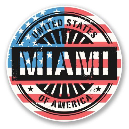 2 X Miami Florida EE Pegatina de vinilo Laptop Viaje Equipaje Coche #6068