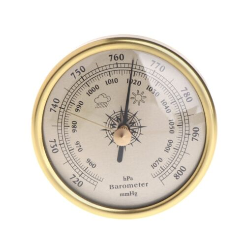 Wall Hanging 72mm Barometer 1070hPa Gold Color Round Dial Air Weather Station
