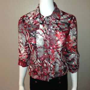 0ad528da Ruby Rd Shirt Size 6P Petite Womens Button Down Blouse Floral Top 3 ...
