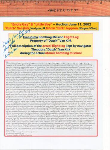 HIROSHIMA ENOLA GAY  MISSION ~ VERY UNIQUE ITEM signed by DUTCH VAN KIRK
