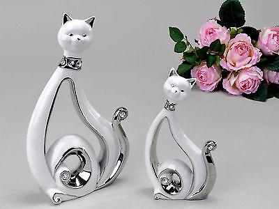 Moderne Katzen Skulptur aus Keramik weiß/silber mit Strass Steinen verziert