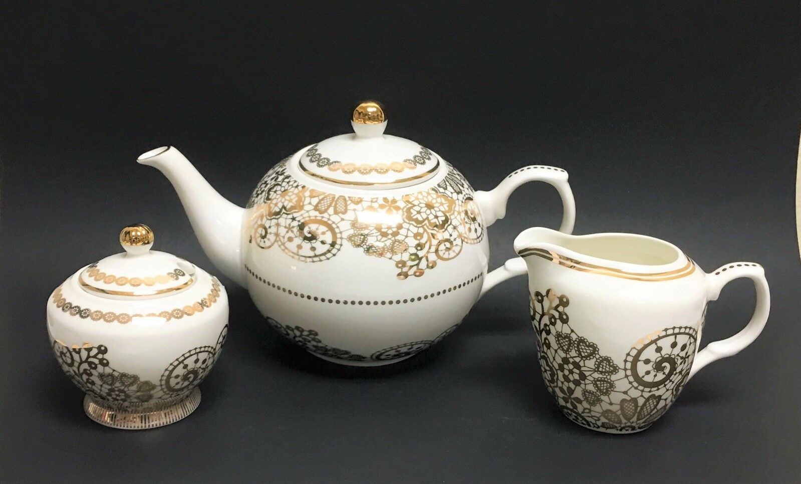 NEW 3 PC SET GRACE'S TEA WARE WHITE+gold TRIM TEAPOT+COFFEE POT,CREAMER,SUGAR