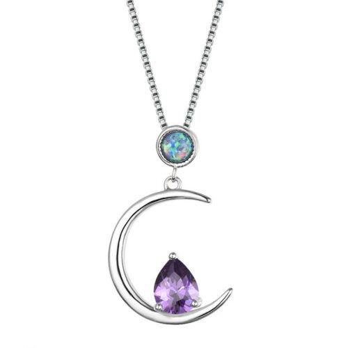 Fashion Silver Amethyst bleu imitation opale Collier Pendentif Chaîne Pour Femmes