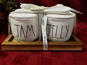 "/""NEW/"" Rae Dunn by Magenta /""JAM /& JELLY/"" Wood Tray Cellar Gift Set VHTF"