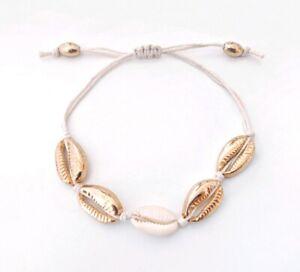 Muschel 🐚 Armband Filigranes Makramee gold beige Frauen Damen Sommer Strand