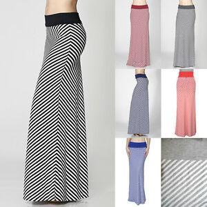 5181eda4c99 Bias Stripe Full Length Jersey MAXI Skirt Contrast Solid Band Rayon ...