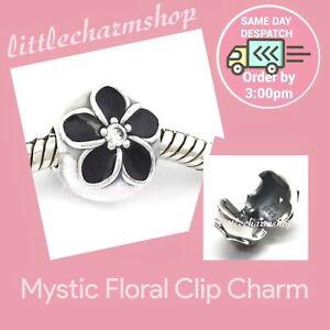 New-Authentic-Genuine-PANDORA-Silver-Mystic-Floral-Clip-Charm-791408CZ-RETIRED