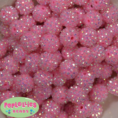 16mm Pink Resin Rhinestone Bubblegum Beads Lot 20 pc.chunky gumball sparkly