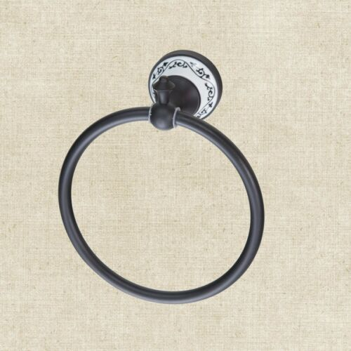 EUB Bathroom Oil Rubbed Bronze Household Black Towel Ring Wall Mounted