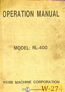 Webb RL-400, Lathe Operating Instructions Manual