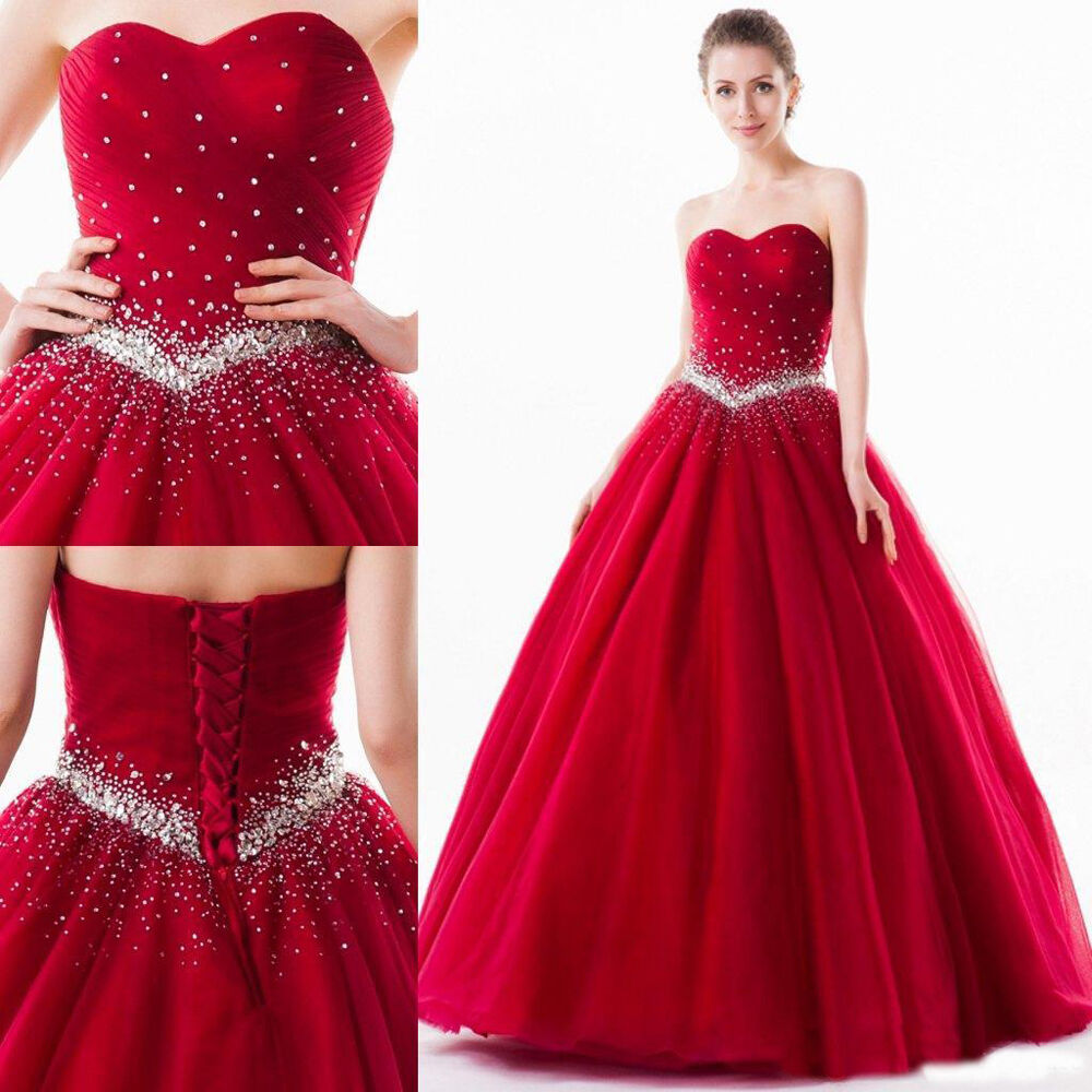 New Red Quinceanera Dress Wedding Party Ball Gown Gown Gown Formal Pageant Prom Dresses 995673