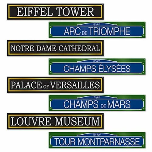 France Party Decorations 4 Double Sided Famous French Monument Street Signs