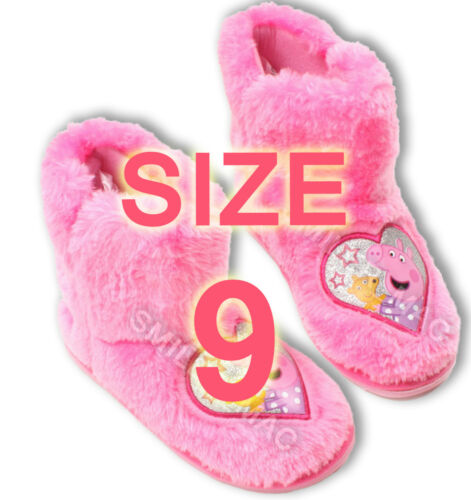 Peppa Pig Faux Fur Pink Slipper Boots Size 5//6//7//8//9 Booties kids infants pepper