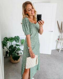 H&M Green Ditsy Floral Print Puff Sleeve Sweetheart Midi Slit Dress size 8 36