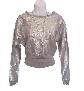 New SILVER FOIL TOP JUNIORS Size M Medium Cropped Sweatshirt DOLMAN Metallic